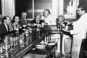 EH 5084P  Spencer Tracy, Ernest and Mary Hemingway, and others at La Florida, Havana, Cuba, circa 1955. Photograph in the Ernest Hemingway Photograph Collection, John Fitzgerald Kennedy Presidential Library and Museum, Boston.